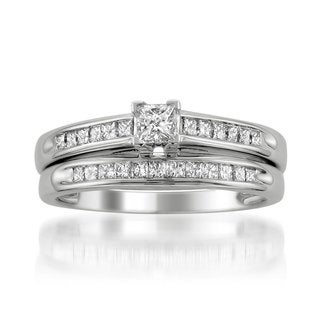 14k white gold 1/2ct TDW Princess-cut White Diamond Engagement and Wedding Band Bridal Set - Clear