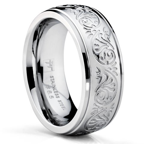Oliveti Stainless Steel Women's Wedding Band Ring Engraved Floral Design 7mm