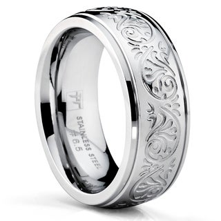 Oliveti Stainless Steel Women's Wedding Band Ring Engraved Floral Design 7mm (More options available)