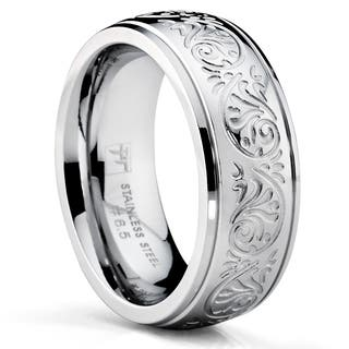 oliveti stainless steel womens wedding band ring engraved floral design 7mm - Wedding Bands And Engagement Rings