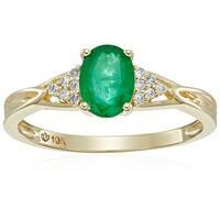 Pinctore 10k Yellow Gold Genuine Emerald Diamond Accent Engagement Ring, Sz 7 - Green
