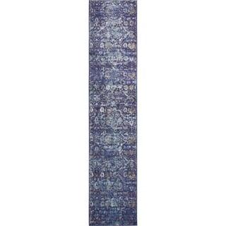 Lexington Navy Blue/Off-White Floral Runner Rug (2'7 x 12'2)
