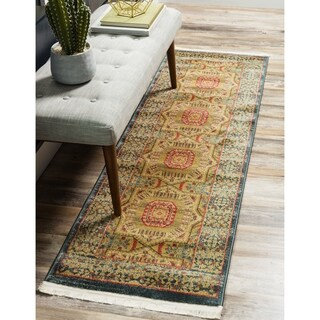 Palace Red/Beige Floral Runner Rug (2' x 6')