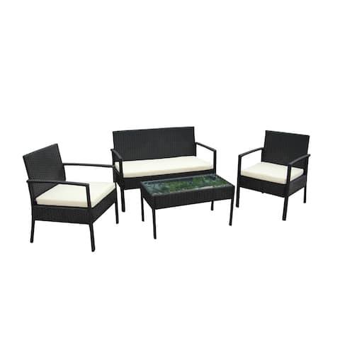 ALEKO Linosa Set Rattan Wicker Furniture 4-Piece Indoor Outdoor Set
