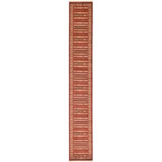 Nomad Rust Red/Beige Stripe Runner Rug (2'7 x 19'8)