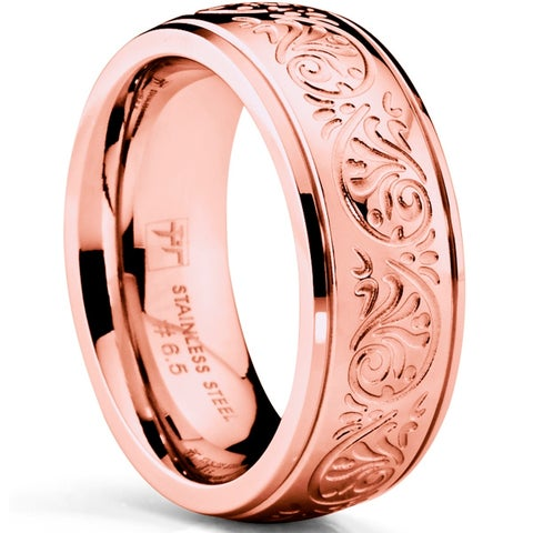 Oliveti Rosegold Stainless Steel Women's Wedding Band Ring Engraved Floral Design 7mm