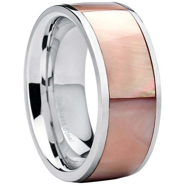 Shop Oliveti Women\'s Stainless Steel Pink Mother of Pearl Wedding ...