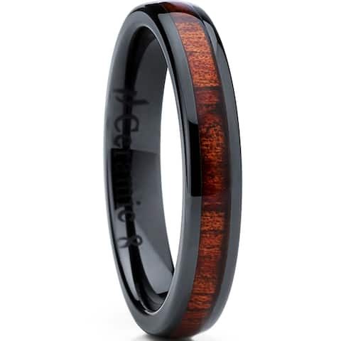 Oliveti Women's Black Ceramic Wedding Band with Koa Wood Inlay ring 4mm