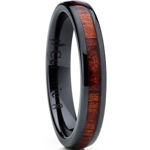 Oliveti Women's Black Ceramic Wedding Band with Koa Wood Inlay ring 4mm