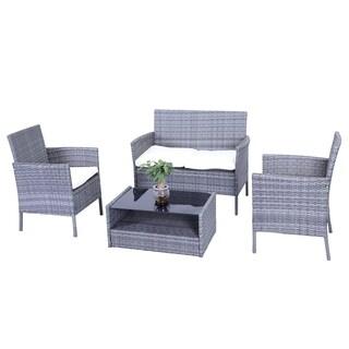 ALEKO Indoor Outdoor Hamptons Rattan 4 Piece Patio Furniture Set