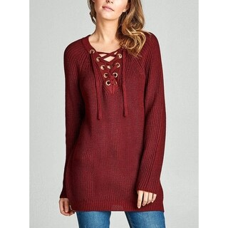 JED Women's Cotton & Acrylic Blend Long Sleeve Lace-up V-neck Sweater