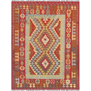 "Anatolian Kilim Collection Hand-Woven Wool Area Rug (5' 0"" X 6' 9"")"