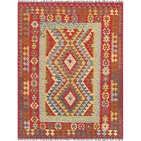 "Anatolian Kilim Collection Hand-Woven Wool Area Rug (5' 0"" X 6' 9"") - multi"