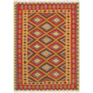 "Anatolian Kilim Hand-Woven Lamb's Wool Area Rug (4' 7"" X 6' 5"")"