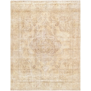 """Pasargad Vintage Overdye Beige Hand-Knotted Wool Area Rug (9' 9"""" X 12' 6"""")"""