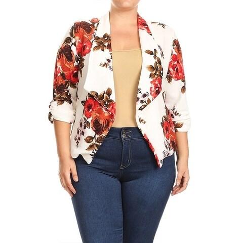Women's Plus Size Floral Pattern Blazer Style Jacket