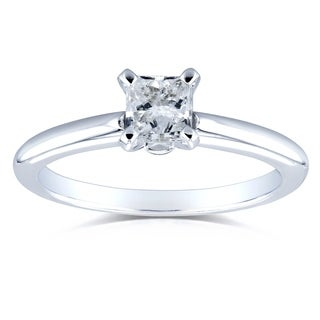 Annello by Kobelli 14k White Gold 1/2 Carat Diamond Solitaire Princess Cut Engagement Ring