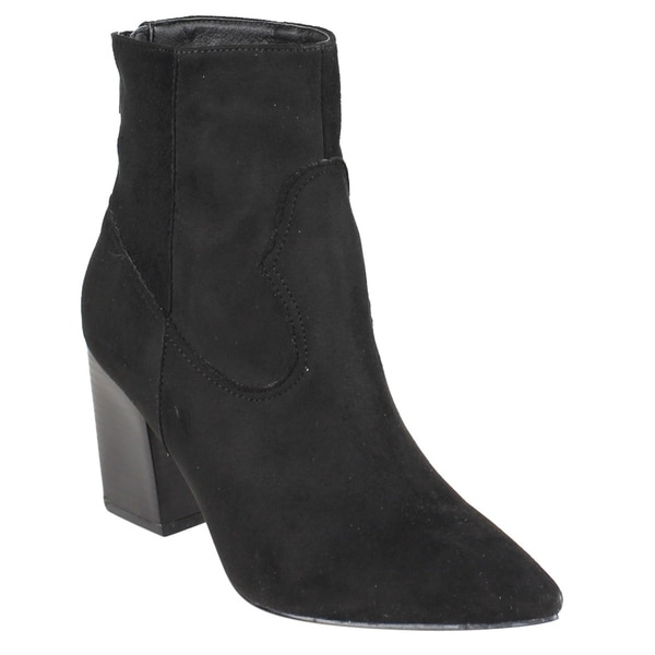 EI53 Women's Back Zip Stacked Heel Ankle Western Booties One Size Small
