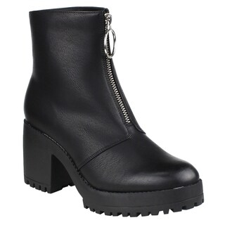 Beston EI57 Women's Zip Front Lug Sole Platform Chunky Heel Ankle Booties (More options available)