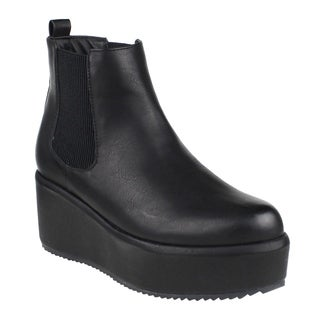 Beston EI54 Women's Elastic Panels Pull On Platform Wedge Ankle Chelsea Boot