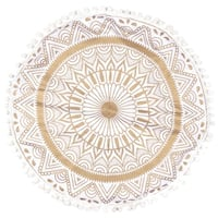 Royal White Home Decorative Floor Pillow Cushion Cover with Golden Mandala Throw