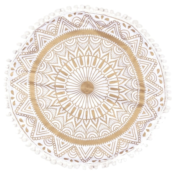 Royal White Decorative Floor Pillow Cushion Cover with Golden Mandala
