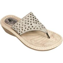 Women's Cliffs by White Mountain Charissa Perforated Thong Sandal Pewter Metallic Smooth Polyurethane