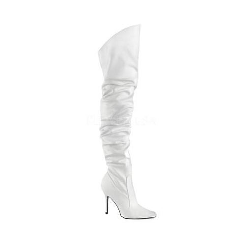 Women's Pleaser Classique-3011 Thigh High Slouch Boot White Faux Leather