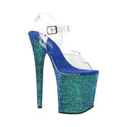 Women's Pleaser Flamingo-808LG Glitter Ankle Strap Sandal Clear PVC/Blue Holo Glitter