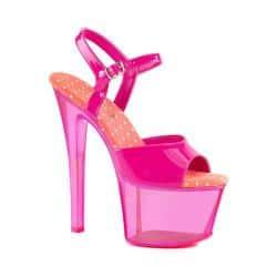 607521b61a37 Women s Pleaser Sky-309UVT Platform Ankle Strap Sandal Neon Hot Pink Hot  Pink Tinted