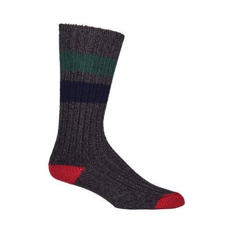 Woolrich Rugby Stripe Camp Sock (2 Pairs) Charcoal