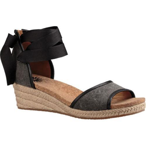 Women's UGG Amell Ankle Tie Sandal Black Stone Washed Canvas