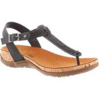 Women's Bearpaw Mila Thong Sandal Black Synthetic