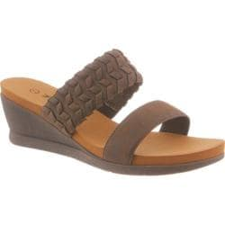 Women's Bearpaw Misty Slip-On Wedge Sandal Dark Brown Synthetic