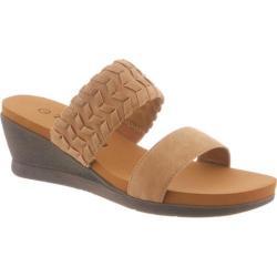 Women's Bearpaw Misty Slip-On Wedge Sandal Tan Synthetic