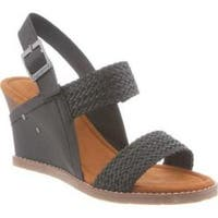 Women's Bearpaw Racquel Slingback Wedge Sandal Black Synthetic
