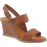 Women's Bearpaw Racquel Slingback Wedge Sandal Brown Synthetic