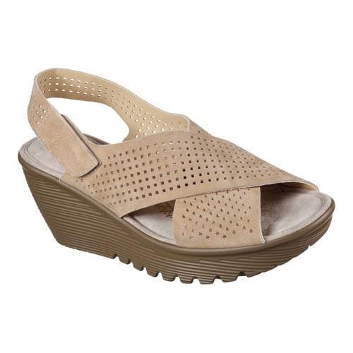6d762a0a0764 Shop Women s Skechers Parallel Infrastructure Platform Slingback Dark  Natural - Free Shipping Today - Overstock.com - 14589773