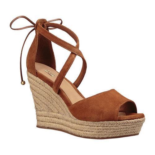 Shop Women S Ugg Reagan Wedge Sandal Chestnut Suede Free