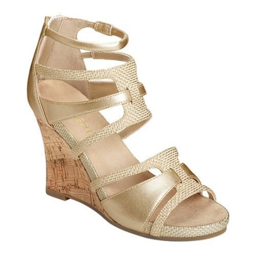 056f14eec568 Women  x27 s Aerosoles Capital Strappy Wedge Sandal Gold Combo Faux Leather