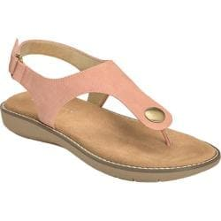 Women's Aerosoles Be Cool Thong Sandal Pink Snake Printed Faux Leather
