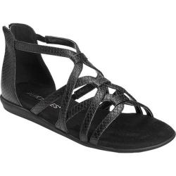 Women's Aerosoles Ocean Chlub Gladiator Sandal Black Snake Printed Faux Leather