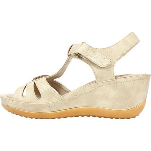 Women's Cliffs by White Mountain Fabia T-Strap Sandal Natural Sueded Smooth  Polyurethane - Free Shipping On Orders Over $45 - Overstock.com - 21143866