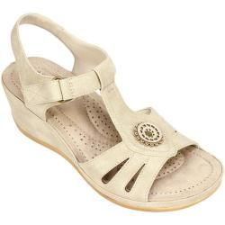 Women's Cliffs by White Mountain Fabia T-Strap Sandal Natural Sueded Smooth Polyurethane