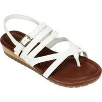 Women's Cliffs by White Mountain Sanna Strappy Thong Sandal White Burnished Smooth Polyurethane