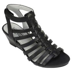 Women's Cliffs by White Mountain Valda Caged Sandal Black Burnished Smooth Polyurethane