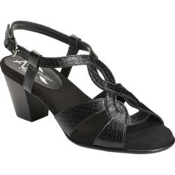 Women's A2 by Aerosoles Base Level Ankle Strap Sandal Black Snake Printed Faux Leather