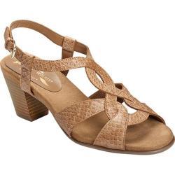 Women's A2 by Aerosoles Base Level Ankle Strap Sandal Tan Snake Printed Faux Leather