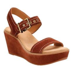 Women's Clarks Aisley Orchid Quarter Strap Wedge Dark Tan Cow Suede