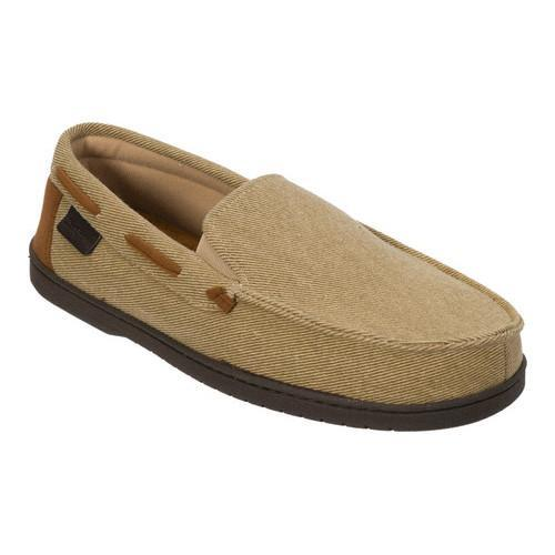 Men's Dearfoams Twill Moccasin Slipper Khaki